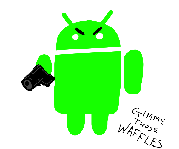 android mascot with a gun