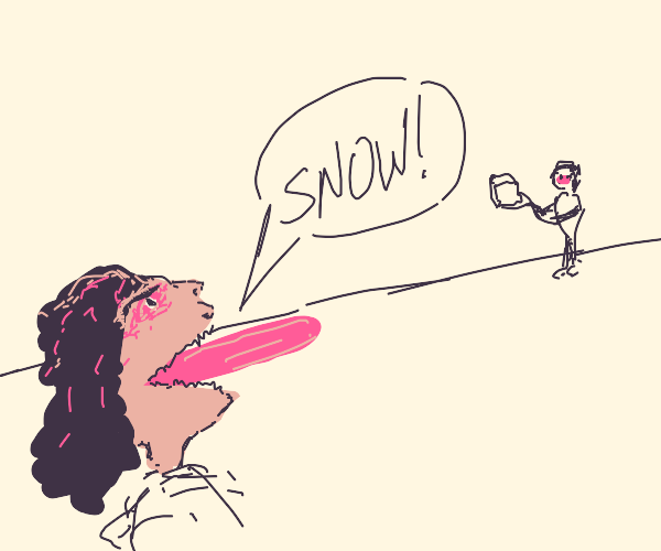 """angry lady shouts at ice man """"I WANT SNOW"""""""