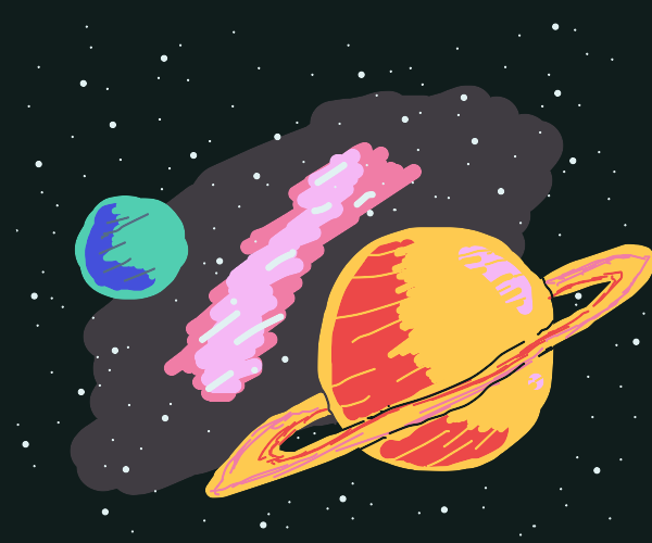 pink space nebula between saturn and earth