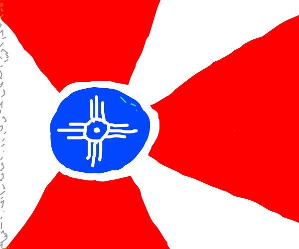 flag of new mexico but blue, white, red cross