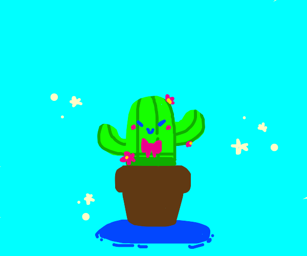 Happy cactus wearing a bow tie