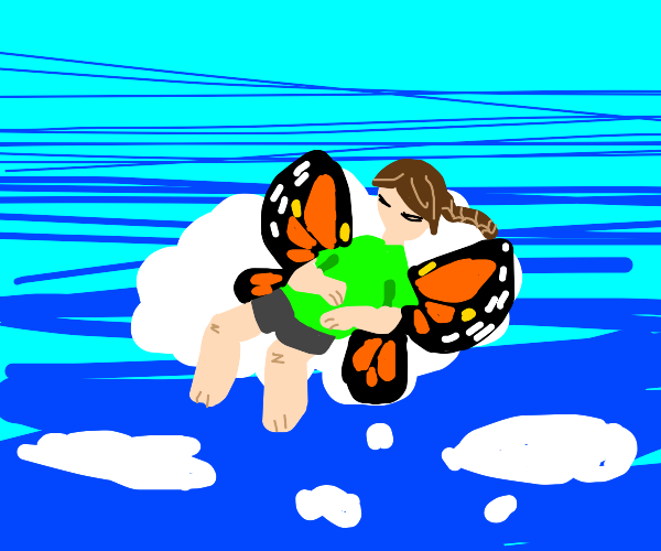 butterfly person sleeping on a cloud