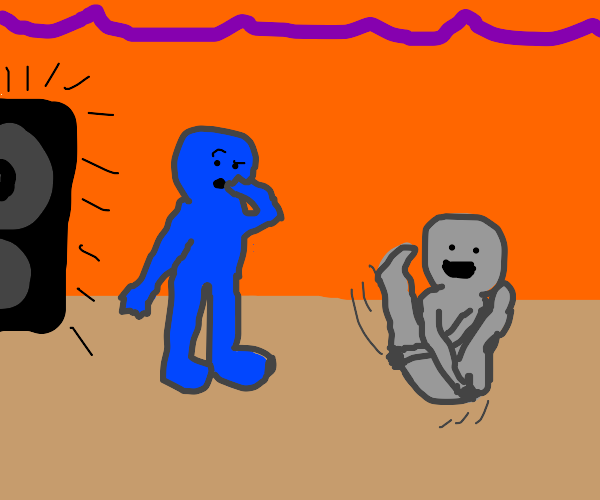 Blue guy confused by friend's dance moves