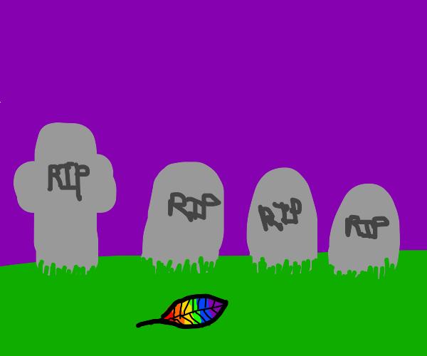 rainbow leaf at cemetery
