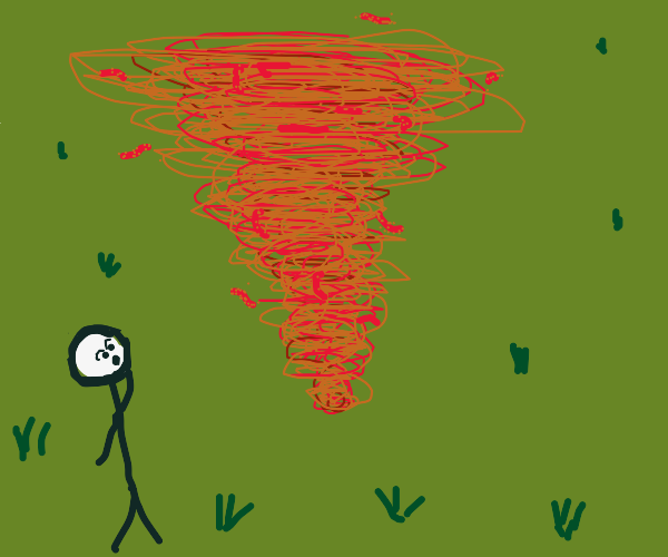Man is perplexed by the cheeto dust twister