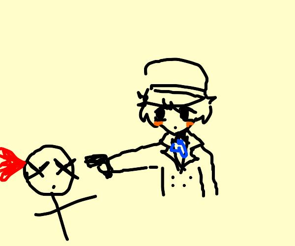 Naoto Shirogane murders someone
