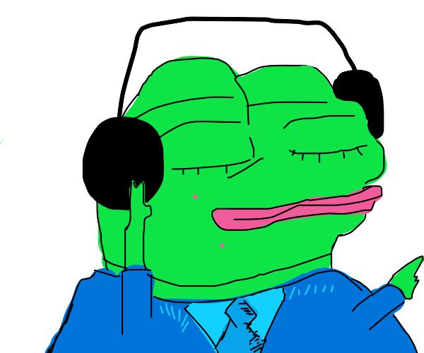 Pepe the frog wearing headphones