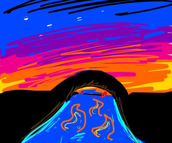 sunset on a bridge over an ocean on fire