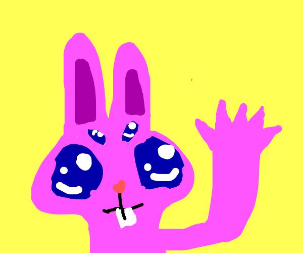 Pink Alien Rabbit Waving To You