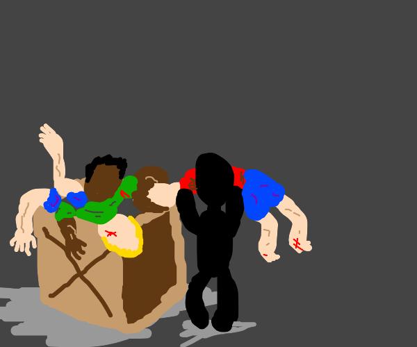 Someone hiding dead bodies in a box