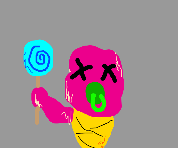 pink diseased (baby?) with a blue lollipop