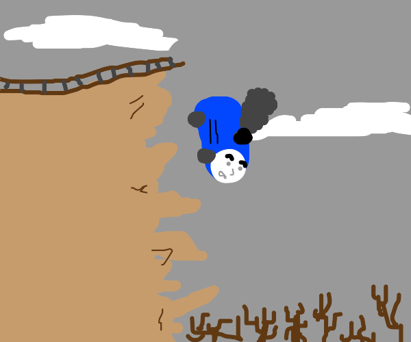 Thomas the tank engine falling off a cliff