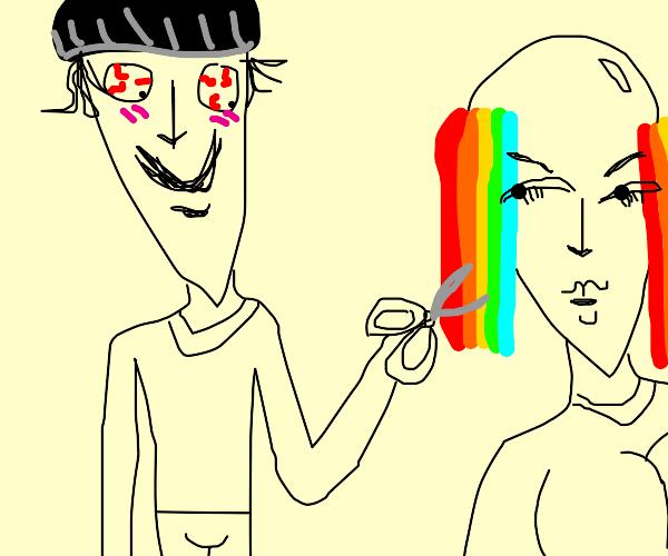 Murderer cutting woman's gay hair
