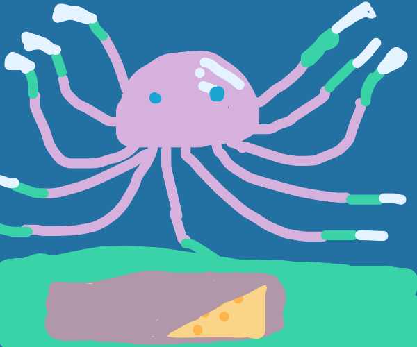 jelly fish prepares to cut the cheese