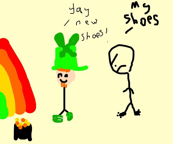 Leprechaun stole a guys shoes