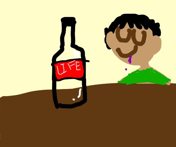 He drank the bottle of everlasting life.