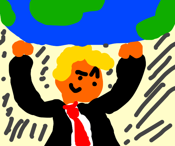 Trump holding the earth in his hands
