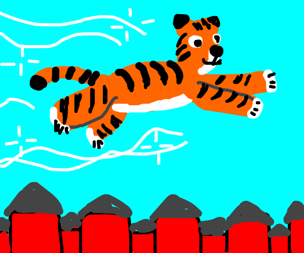 tiger flying over houses
