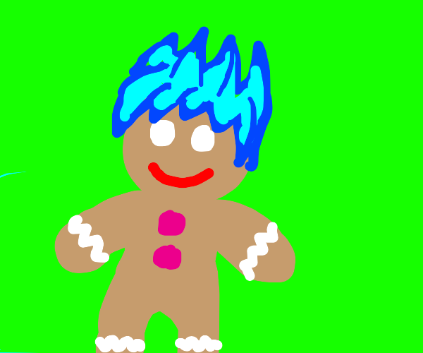 Gingerbread man with blue hair