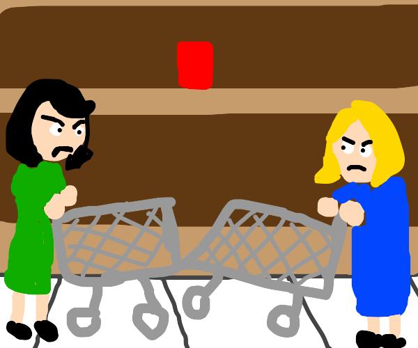 2 ladies shopping bump shopping carts.