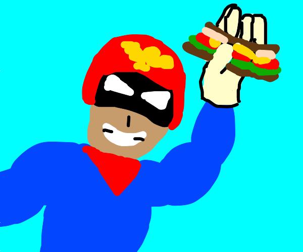 captain falcon holding a sandwich