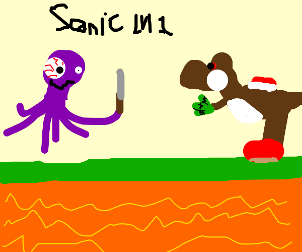 Octopus mugs brown yoshi in sonic level 1