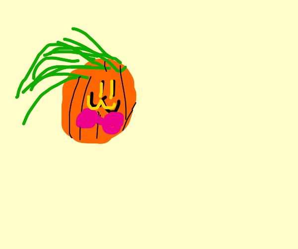 a very sexy pumpkin wearing a pink bra