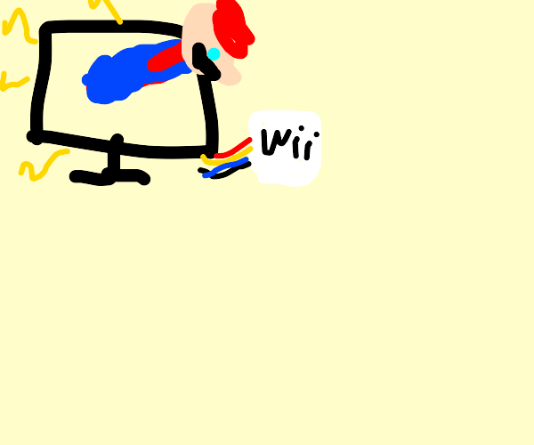 Mario comes out of TV,there's a Nintendo Wii