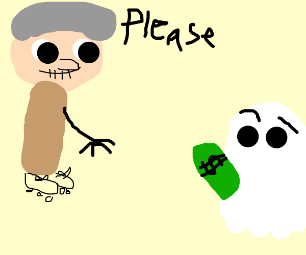 Lady with rollers begs for money from ghost