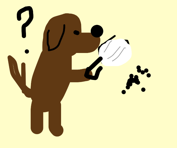 Dog using a magnifying glass