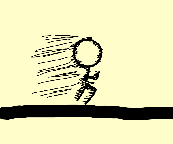 really fast stick figure