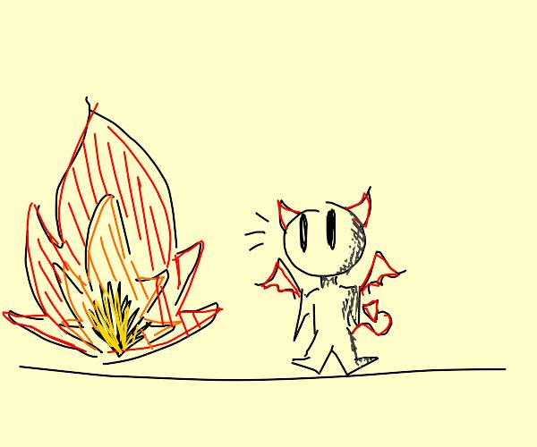 tiny devil near fire