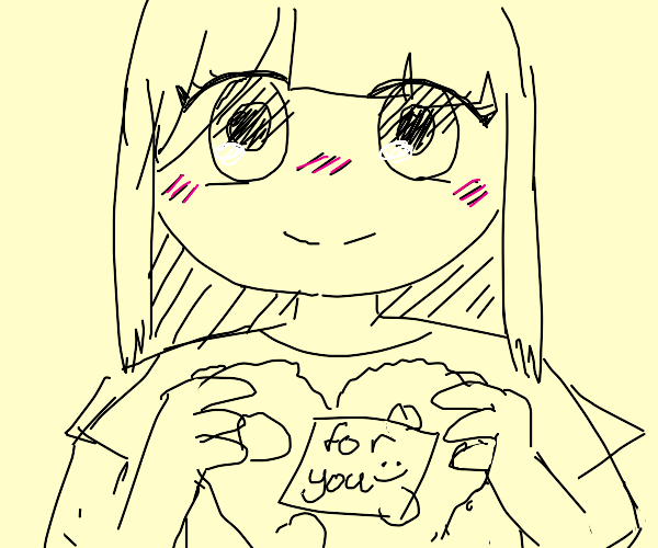 Adorable little girl gives you a heart cookie