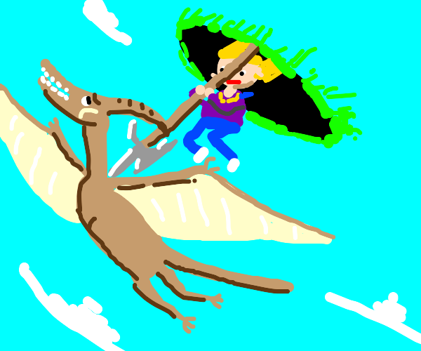 Attacking a pterodactyl from above w/ portal