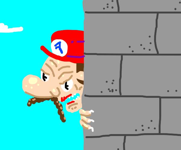 Mario staring from around a corner