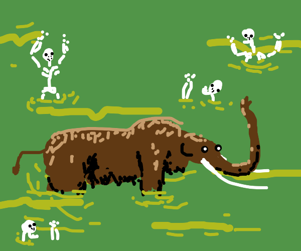 Mammoth surrounded by skeletons