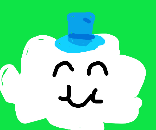 fluffy cloud guy with blue hat