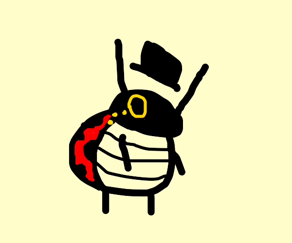 ladybug with a top hat and monocle
