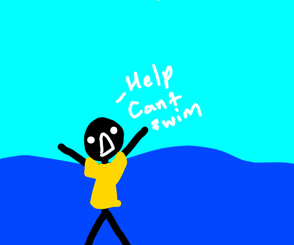 a man in a yellow shirt drowning