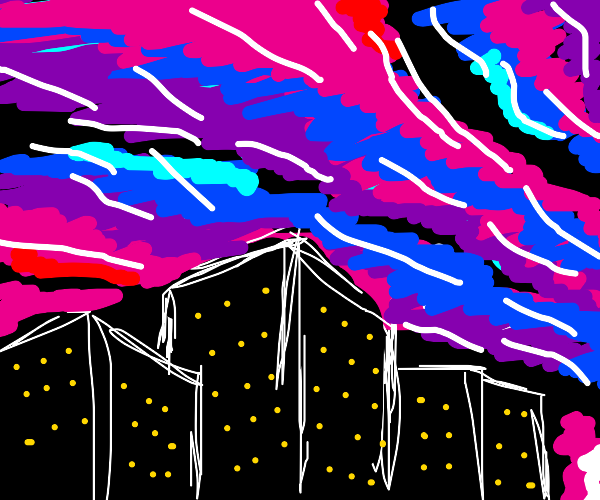 The Northern Lights over a city