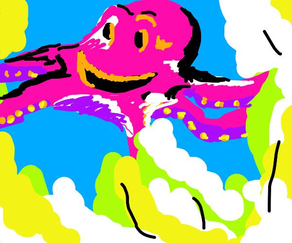 Pink smiling octopus
