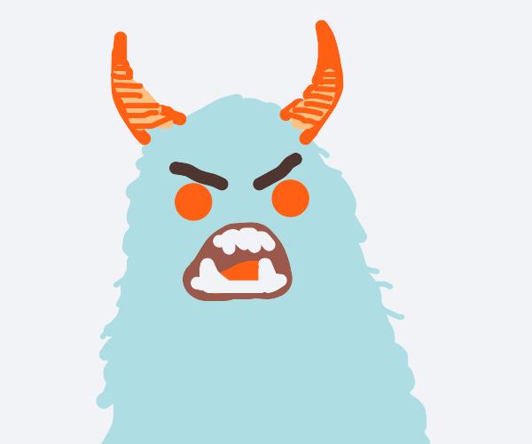 blue monster with orange horns
