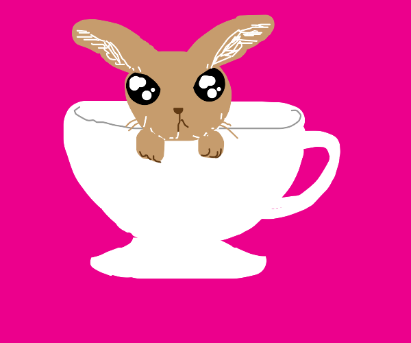 teeny brown rabbit in a teacup