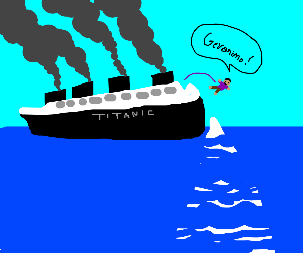 titanic but a guy jumps off