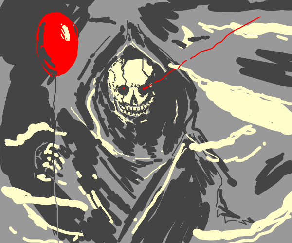Grim reaper with a red balloon