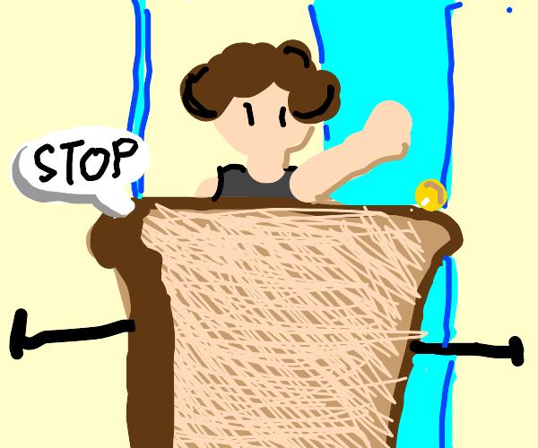 bread stops person entering through door