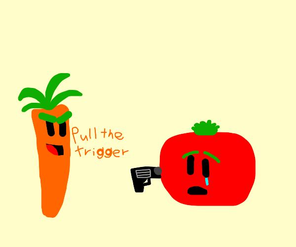 carrot pressures tomato into suicide