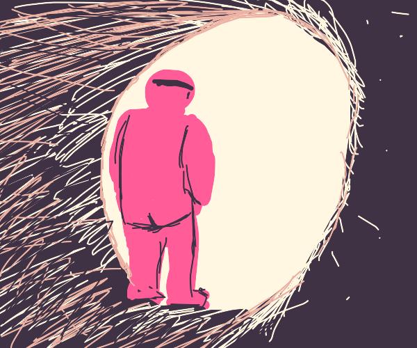Pink man walks into void