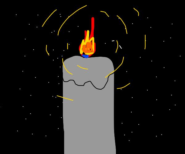 A candle illuminates the night