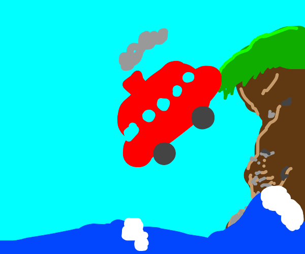 red bus w/chimmey falling to ocean from hill